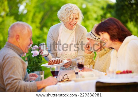 Happy group of senior people eating ring cake at birthday party in a garden - stock photo