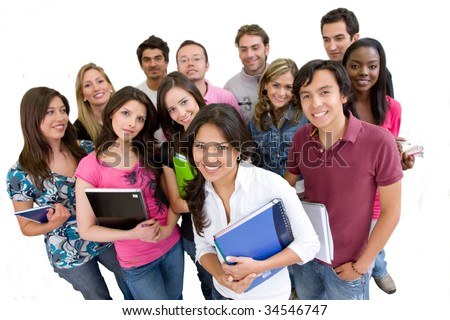Happy group of students isolated over white - stock photo
