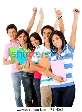 Happy group of students with arms up - isolated over white