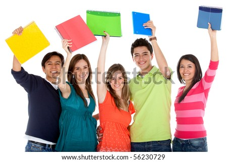 Happy group of students with notebooks - isolated over a white background - stock photo
