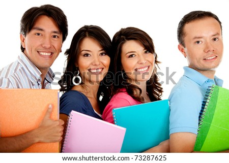 Happy group of students with notebooks - isolated over white - stock photo