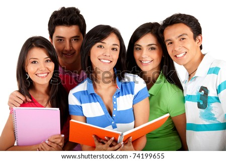 Happy group of students with notebooks - isolated over white