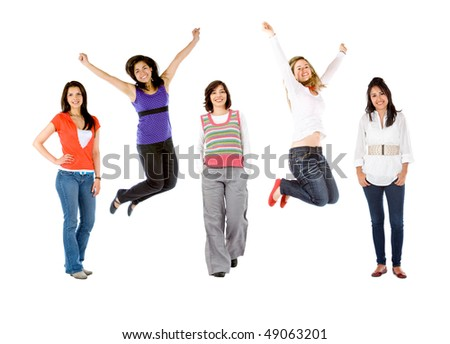 Happy group of women isolated over a white background - stock photo