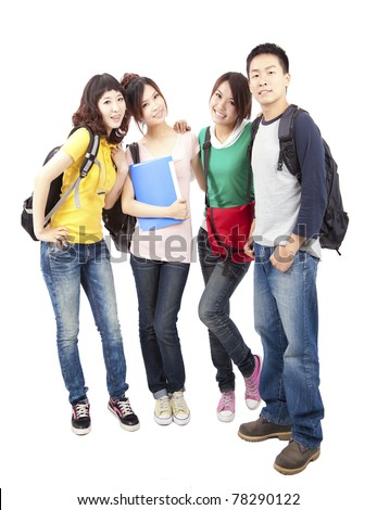 Happy group of young asian students standing together - stock photo