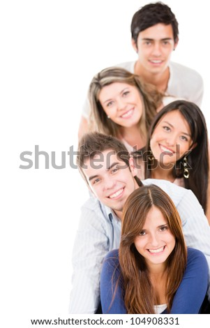 Happy group of young people in a row- isolated over white - stock photo