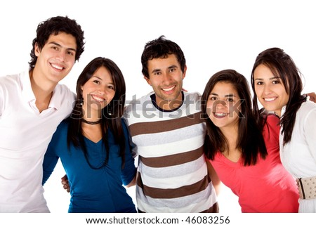 Happy group of young people isolated over a white background - stock photo