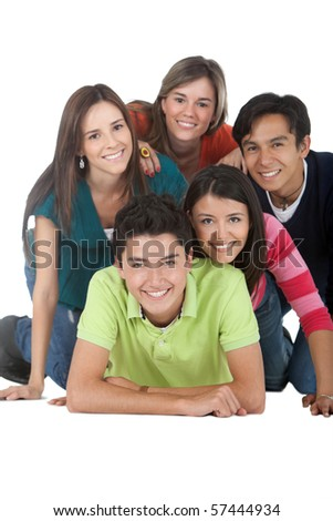 Happy group of young people - isolated over a white background