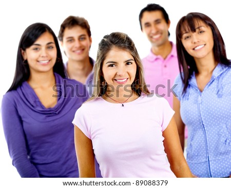 Happy group of young people â?? isolated over a white background