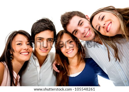 Happy group of young people smiling - isolated over white - stock photo