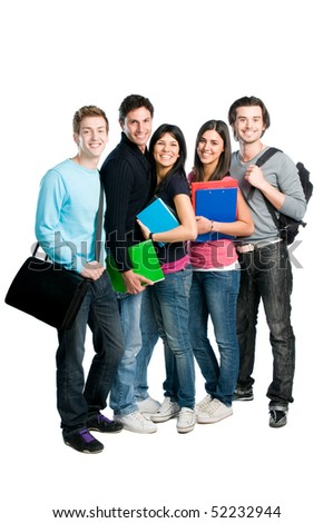 Happy group of young teenager students with books and bags standing full length isolated over white background. - stock photo