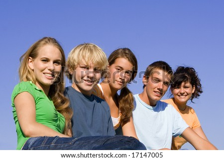 happy group of youth - stock photo