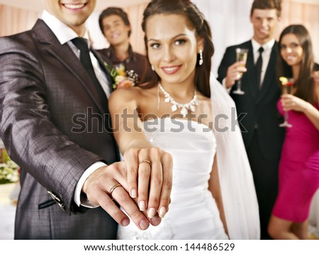 Happy group people at wedding dance. - stock photo