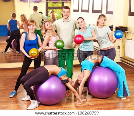 Happy group people in aerobics class. - stock photo