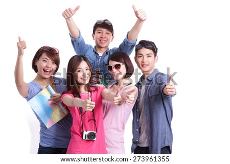 Happy group travel people hold camera, passport and map. Isolated on white background, asian
