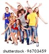 Happy group young people.  Isolated. - stock photo