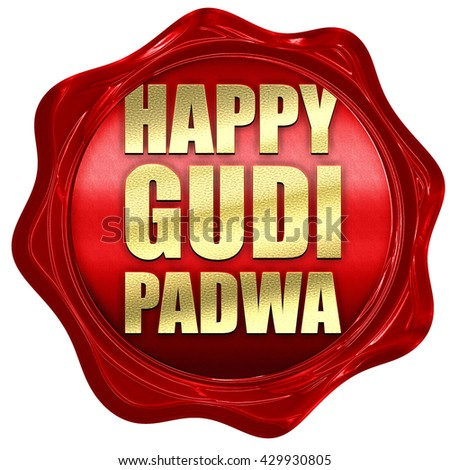 happy gudi padwa, 3D rendering, a red wax seal