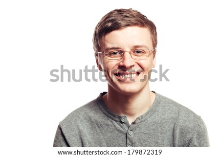 happy guy in eyeglasses - stock photo