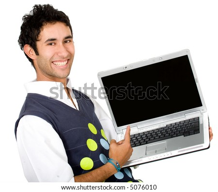 happy guy showing laptop over a white background - stock photo