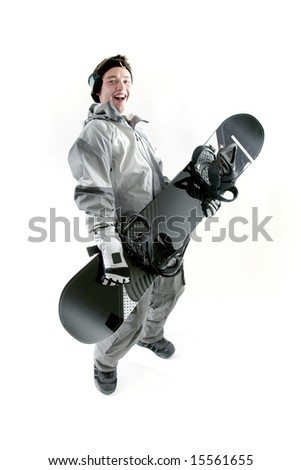 Happy guy with snowboard, isolated - stock photo