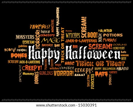 happy halloween and other scary words on a black background - stock photo
