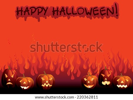 Happy Halloween! Background of many glowing halloween pumpkins and text on  abstract fire - stock photo