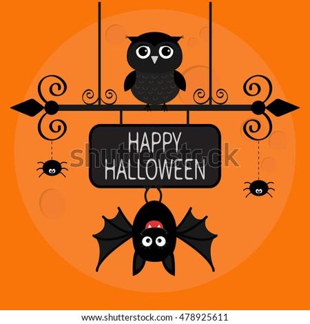 happy halloween card bat hanging on wrought iron sign board owl bird spider