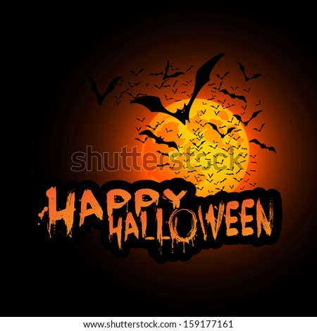 Happy Halloween Card Template with Lots of Flying Bats in the Darkness - stock photo