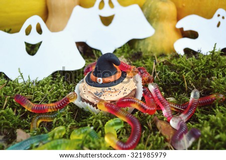 Happy Halloween Cupcakes.Halloween cookies.Composition for Halloween with sweets  - stock photo