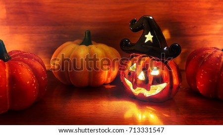 Happy Halloween Day With Halloween Pumpkin Head At Night.Head Of Halloween  Ghost Lantern On