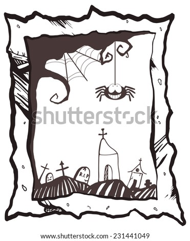 Happy Halloween frame with smiling spider - isolated (raster version, available as EPS file too) - stock photo