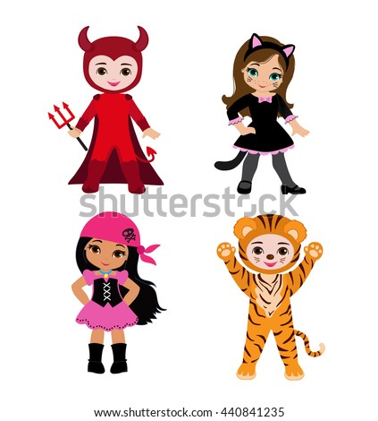 Happy Halloween. Funny little children in colorful costumes. Raster copy. - stock photo