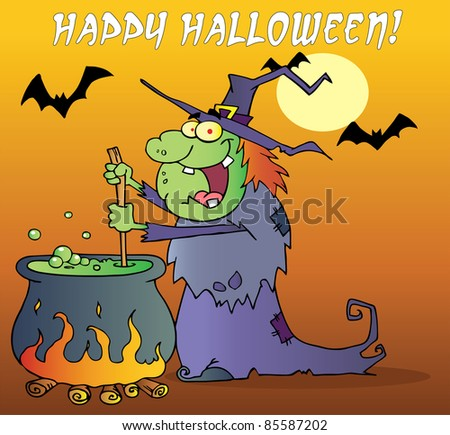 Happy Halloween Greeting Over A Green Halloween Witch Making A Potion - stock photo