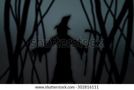 happy Halloween grim reaper dark silhouettes abstract background and use Gaussian blurred effect and can use in poster or fill text
