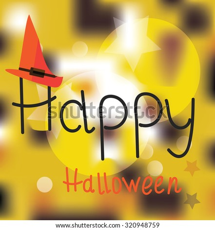 happy halloween hand drawn card - stock photo