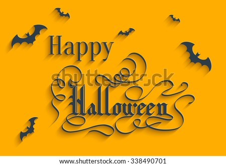 Happy Halloween Hand lettering Greeting Card. Typographical Background. Handmade calligraphy. 3d Gothic Font with Shadow - stock photo