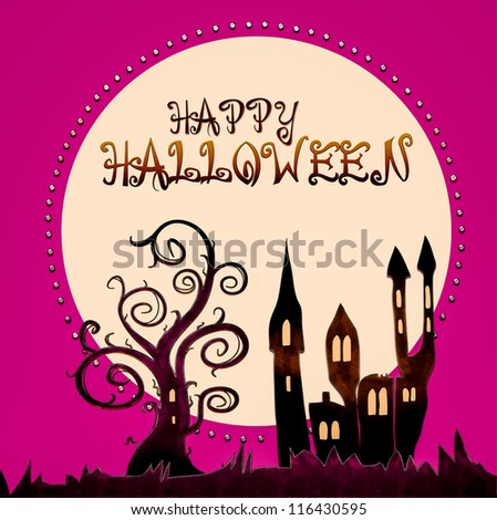 happy halloween - illustration - stock photo
