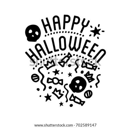 Happy Halloween Logo Curving Pumpkins Stock Illustration 702589147 ...