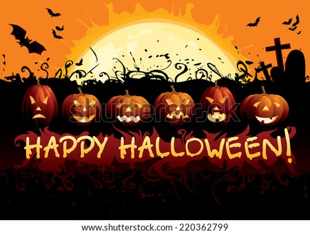 "Happy Halloween! Many glowing halloween pumpkins, tree, grave stone, many flying  bats and text ""Happy Halloween""on  abstract background with big moon. - stock photo"