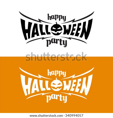 Happy Halloween Party Title Logo Template Stock Illustration ...