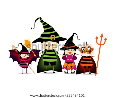 Happy Halloween party with children trick or treating - stock photo
