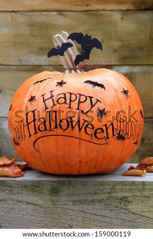 Happy Halloween pumpkin.  - stock photo