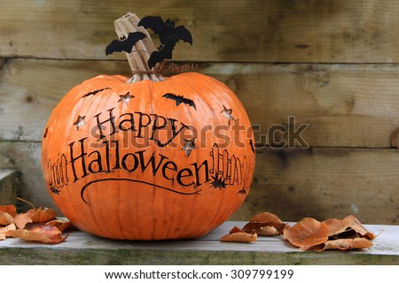 Happy Halloween pumpkin. Also available in vertical.  - stock photo