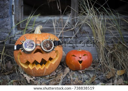 Superior Happy Halloween Pumpkin In Autumn Leaves Are Getting Ready To Celebrate The  Holiday