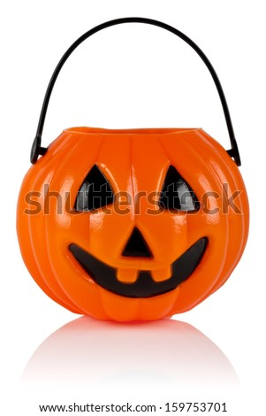 Happy Halloween Pumpkin, Jack O Lantern, isolated on white. Clipping path included. - stock photo