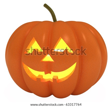 Happy Halloween Pumpkin, Jack O Lantern, with clipping path, 3d illustration - stock photo