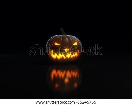 happy halloween pumpkin on black - stock photo