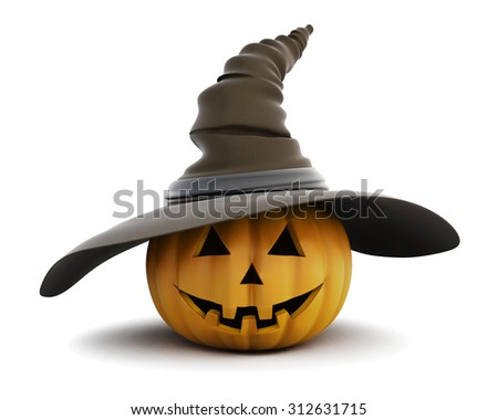 Happy Halloween pumpkin with hat isolated on white background. 3d rendering. - stock photo