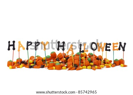 Happy Halloween sign with candy, Isolated on White, Copy Space - stock photo