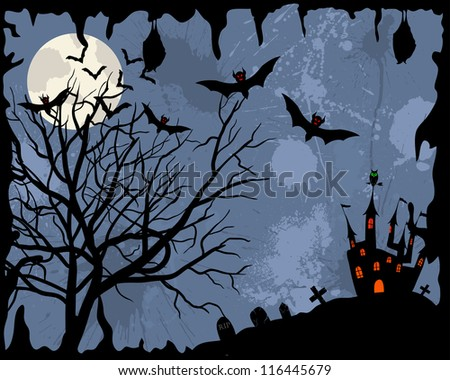 Happy halloween theme greeting card.  Raster version. - stock photo