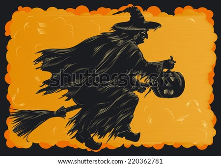 Happy Halloween. Witch flying on broom at engraving style. - stock photo
